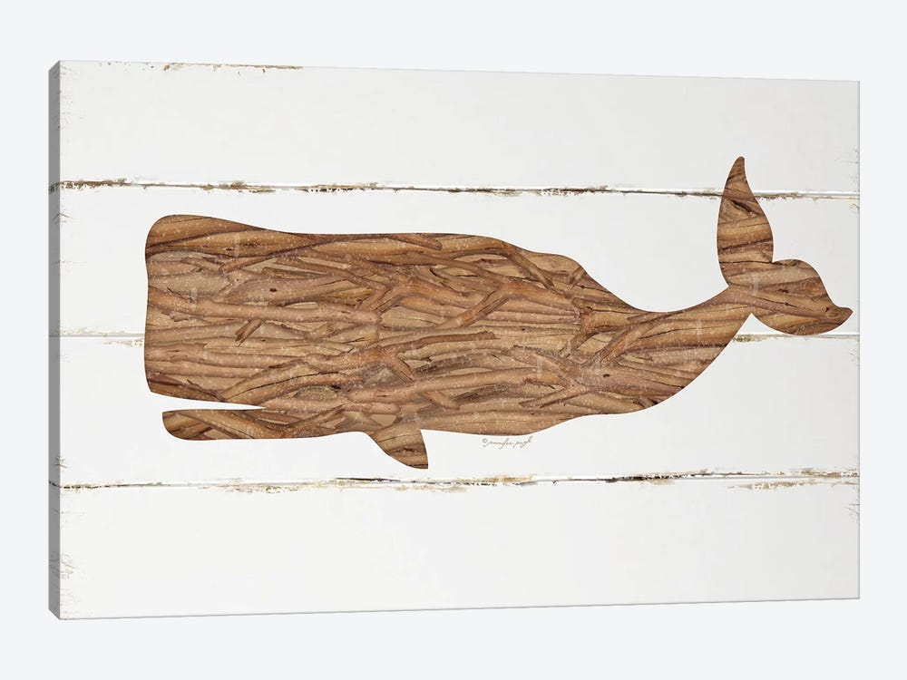 Driftwood Whale by Jennifer Pugh 1-piece Canvas Artwork