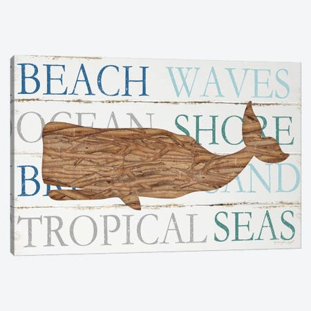 Driftwood Whale With Type Canvas Print #PUG13} by Jennifer Pugh Canvas Art