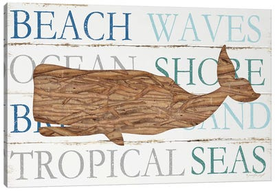 Driftwood Whale With Type Canvas Art Print