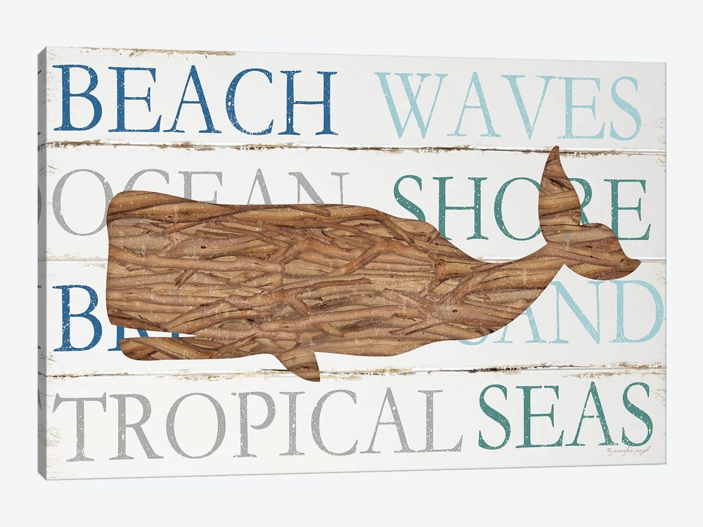 Driftwood Whale With Type by Jennifer Pugh 1-piece Canvas Art Print