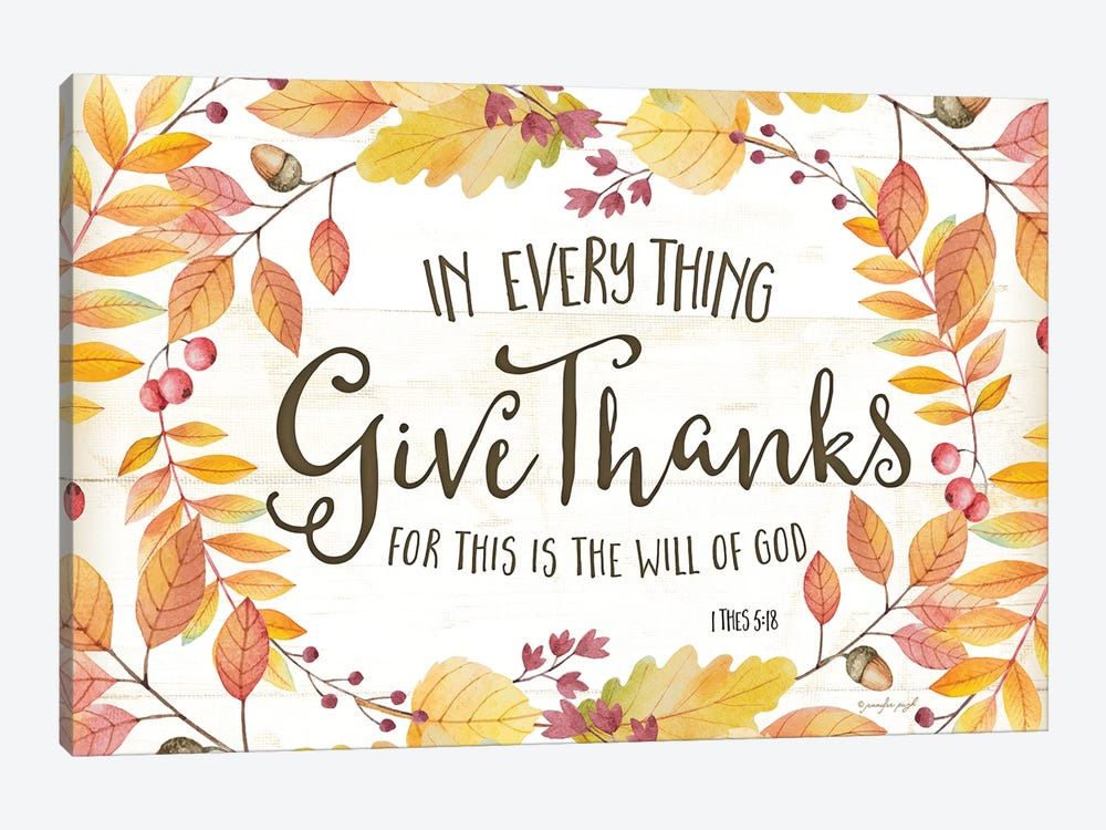 In Everything Give Thanks by Jennifer Pugh 1-piece Canvas Artwork