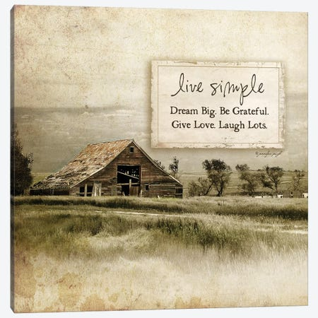 Live Simple Barn Canvas Print #PUG28} by Jennifer Pugh Canvas Art Print