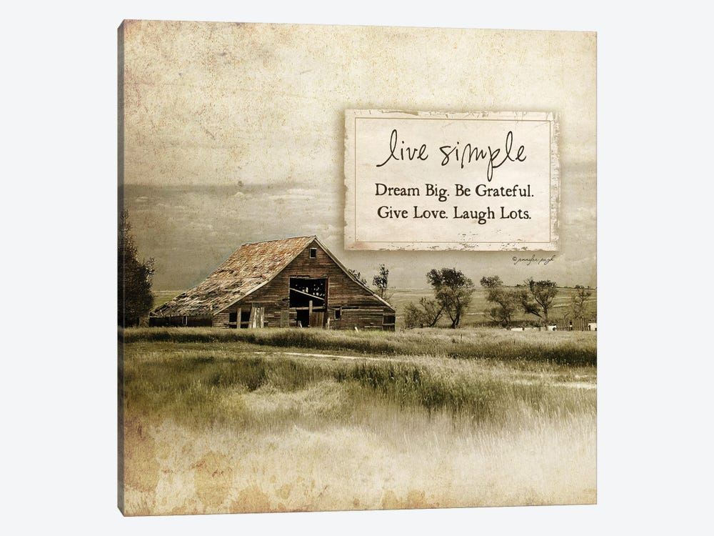 Live Simple Barn by Jennifer Pugh 1-piece Art Print