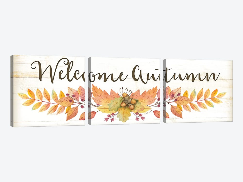 Welcome Autumn by Jennifer Pugh 3-piece Canvas Wall Art