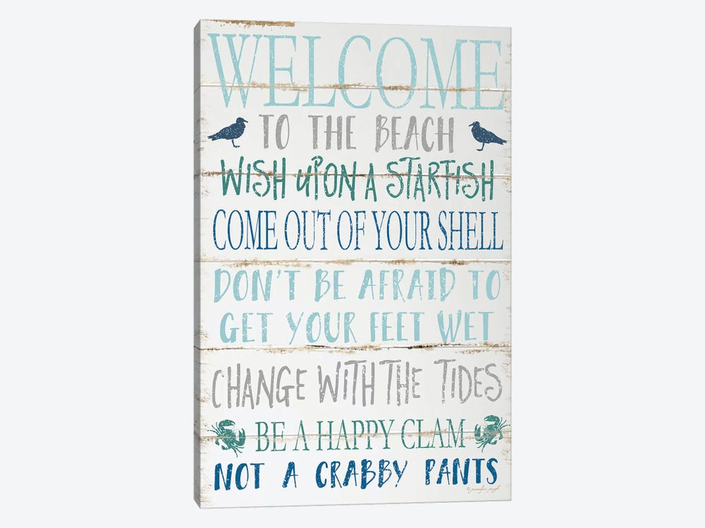 Welcome To The Beach by Jennifer Pugh 1-piece Canvas Art Print