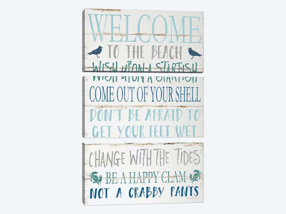 Welcome To The Beach by Jennifer Pugh 3-piece Canvas Art Print