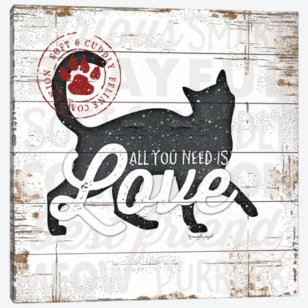All You Need Is Love - Cat Canvas Print #PUG48} by Jennifer Pugh Art Print