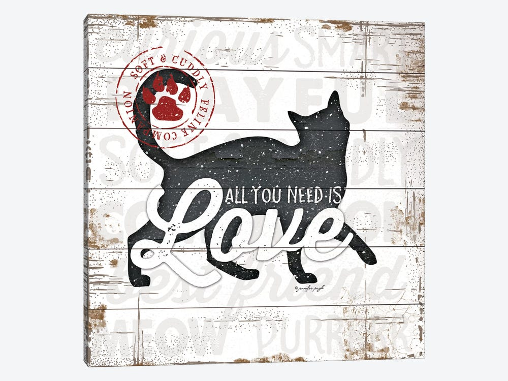 All You Need Is Love - Cat by Jennifer Pugh 1-piece Canvas Art Print