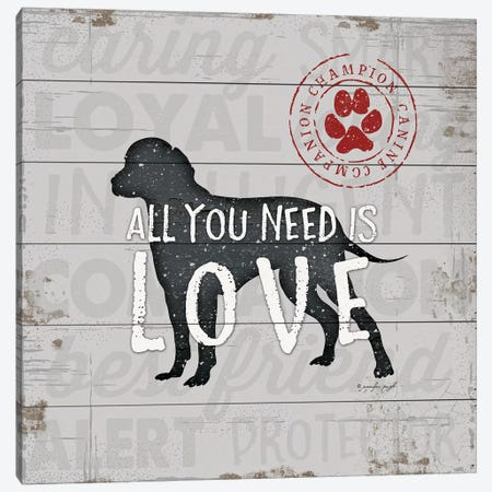 All You Need Is Love - Dog 3-Piece Canvas #PUG49} by Jennifer Pugh Canvas Print