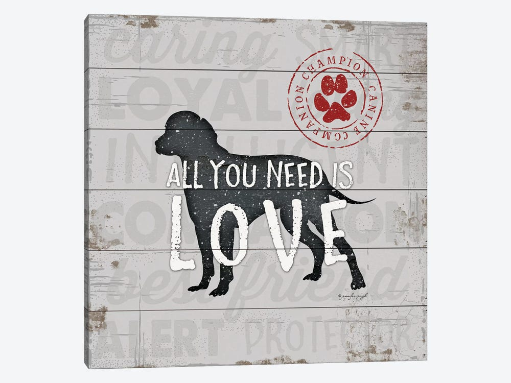 All You Need Is Love - Dog by Jennifer Pugh 1-piece Canvas Wall Art