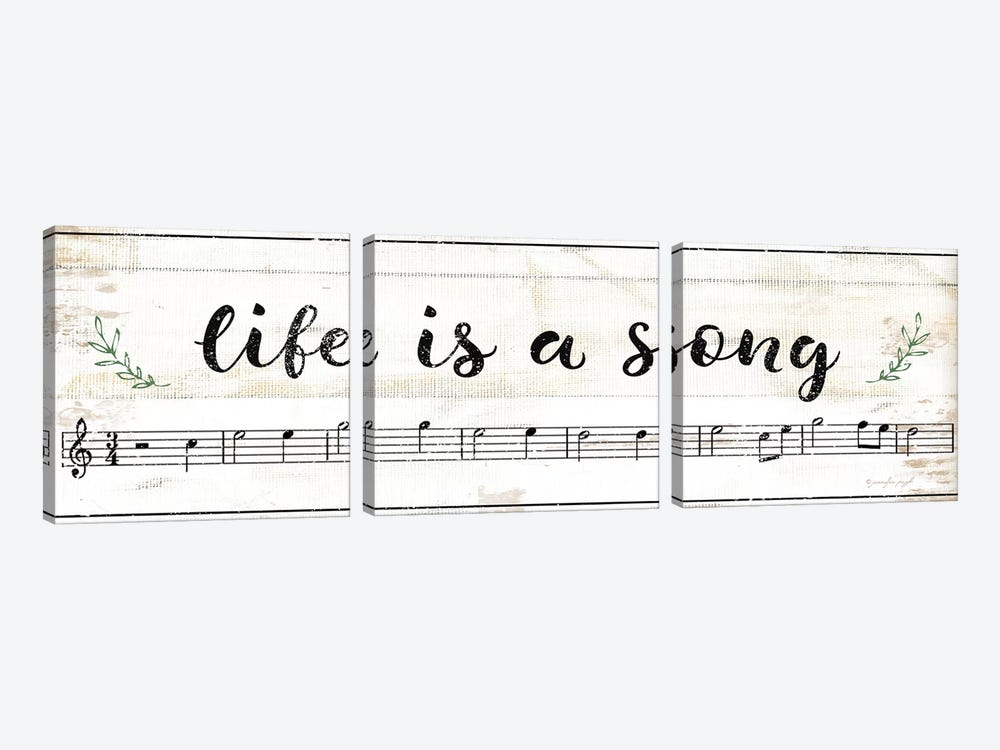 Life Is A Song by Jennifer Pugh 3-piece Canvas Print