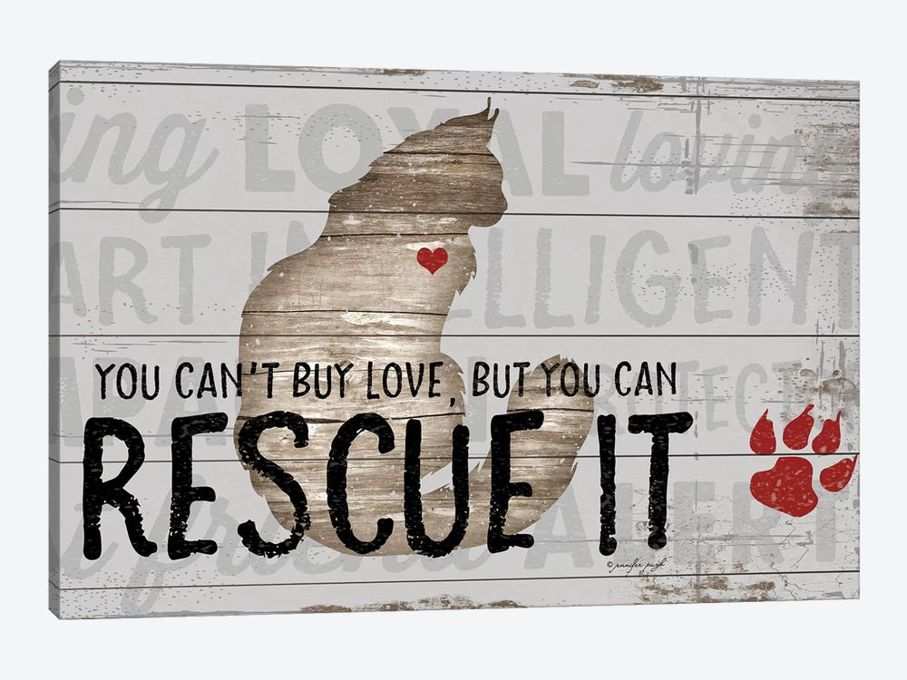 You Can't Buy Love - Cat by Jennifer Pugh 1-piece Canvas Art