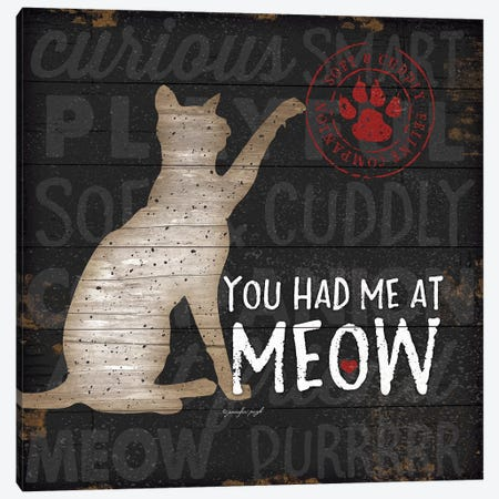 You Had Me At Meow Canvas Print #PUG91} by Jennifer Pugh Canvas Wall Art