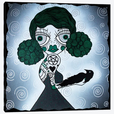 The Green Witch Doctor Canvas Print #PUP40} by Little Punk People Canvas Artwork