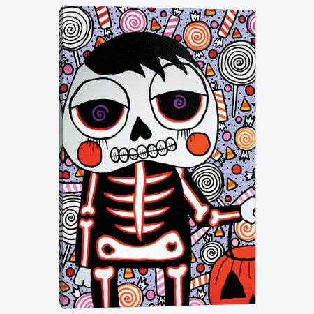 Trick Or Treat Canvas Print #PUP42} by Little Punk People Canvas Wall Art