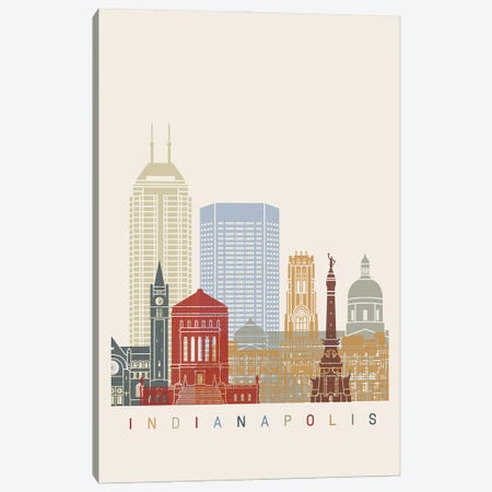 Indianapolis Skyline Poster Canvas Print #PUR1006} by Paul Rommer Canvas Print