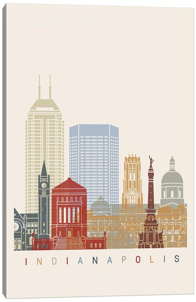 Indianapolis Skyline Poster Canvas Art Print