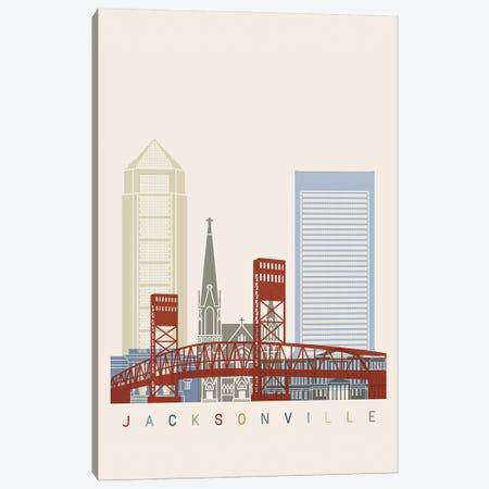 Jacksonville Skyline Poster Canvas Print #PUR1010} by Paul Rommer Canvas Art Print