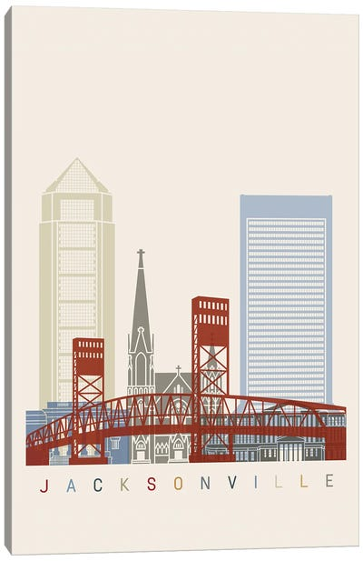 Jacksonville Skyline Poster Canvas Art Print