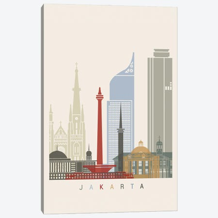 Jakarta Skyline Poster Canvas Print #PUR1012} by Paul Rommer Canvas Print