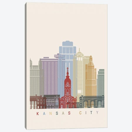 Kansas City Skyline Poster Canvas Print #PUR1014} by Paul Rommer Canvas Artwork