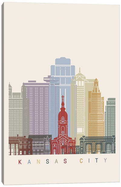 Kansas City Skyline Poster Canvas Art Print