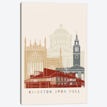 Kingston Upon Hull Skyline Poster Canvas Print #PUR1019} by Paul Rommer Canvas Print