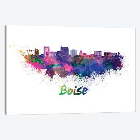 Boise Skyline In Watercolor Canvas Print #PUR101} by Paul Rommer Art Print