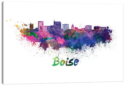 Boise Skyline In Watercolor Canvas Art Print
