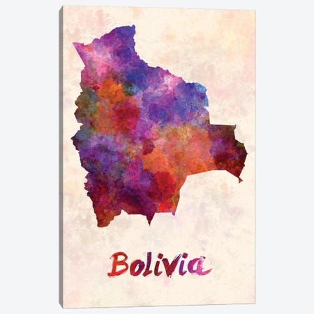Bolivia In Watercolor Canvas Print #PUR102} by Paul Rommer Canvas Art Print