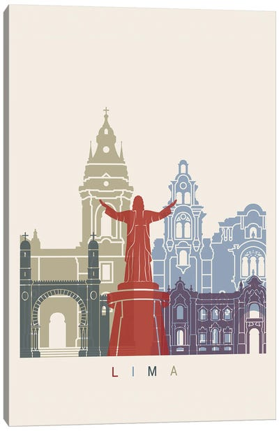 Lima Skyline Poster Canvas Art Print