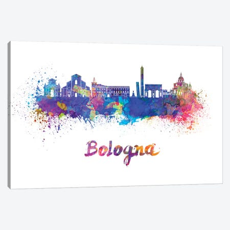 Bologna Skyline In Watercolor Canvas Print #PUR103} by Paul Rommer Canvas Print