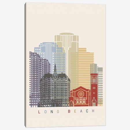 Long Beach Skyline Poster Canvas Print #PUR1048} by Paul Rommer Canvas Art