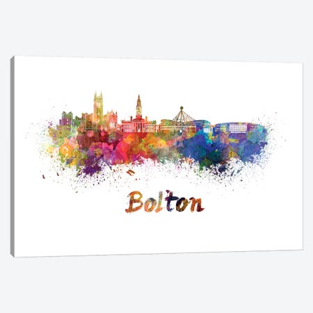 Bolton Skyline In Watercolor Canvas Print #PUR104} by Paul Rommer Canvas Wall Art