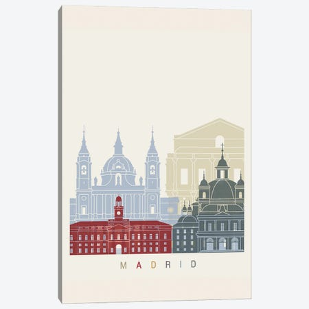 Madrid II Skyline Poster Canvas Print #PUR1055} by Paul Rommer Canvas Wall Art