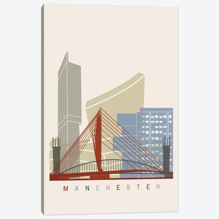 Manchester Skyline Poster Canvas Print #PUR1057} by Paul Rommer Canvas Wall Art