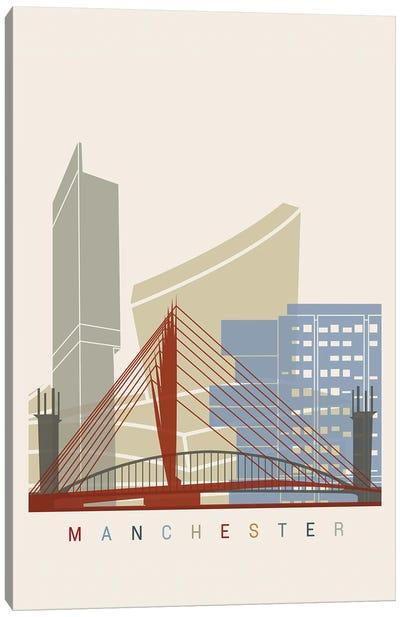 Manchester Skyline Poster Canvas Art Print