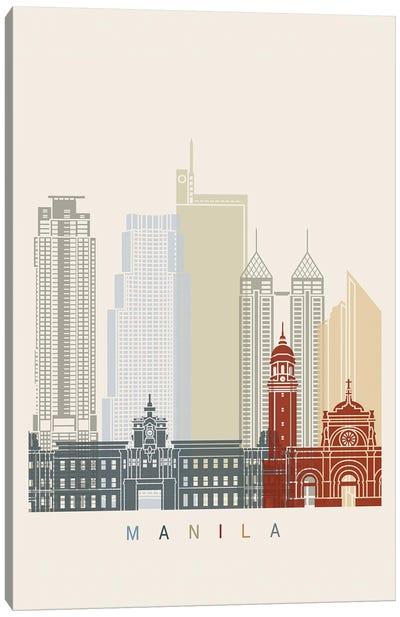 Manila Skyline Poster Canvas Art Print
