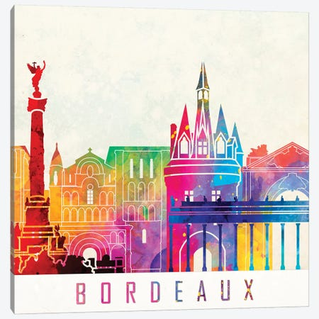 Bordeaux Landmarks Watercolor Poster Canvas Print #PUR105} by Paul Rommer Canvas Artwork