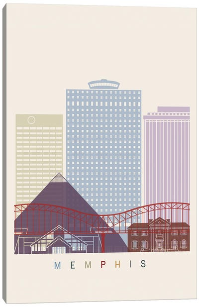 Memphis Skyline Poster Canvas Art Print