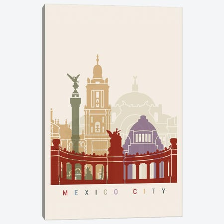 Mexico City Skyline Poster Canvas Print #PUR1063} by Paul Rommer Canvas Wall Art