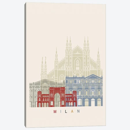 Milan II Skyline Poster Canvas Print #PUR1064} by Paul Rommer Canvas Print