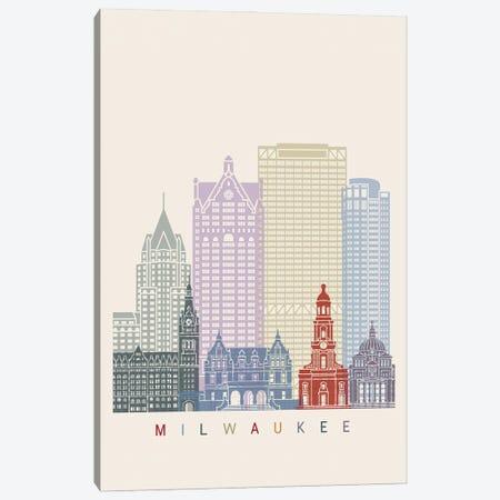 Milwaukee Skyline Poster Canvas Print #PUR1065} by Paul Rommer Art Print