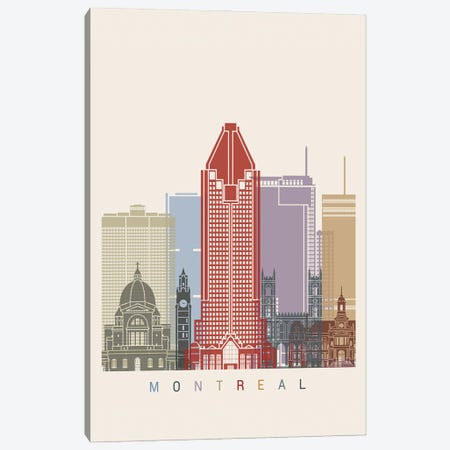 Montreal Skyline Poster Canvas Print #PUR1068} by Paul Rommer Canvas Wall Art