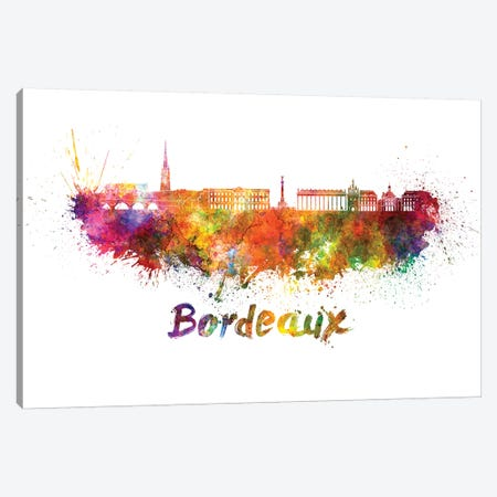 Bordeaux Skyline In Watercolor Canvas Print #PUR106} by Paul Rommer Canvas Wall Art