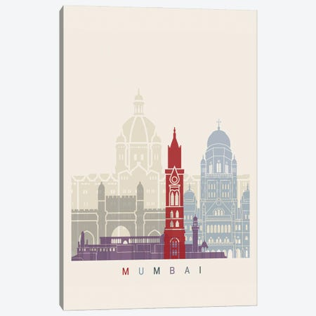 Mumbai Skyline Poster Canvas Print #PUR1071} by Paul Rommer Art Print