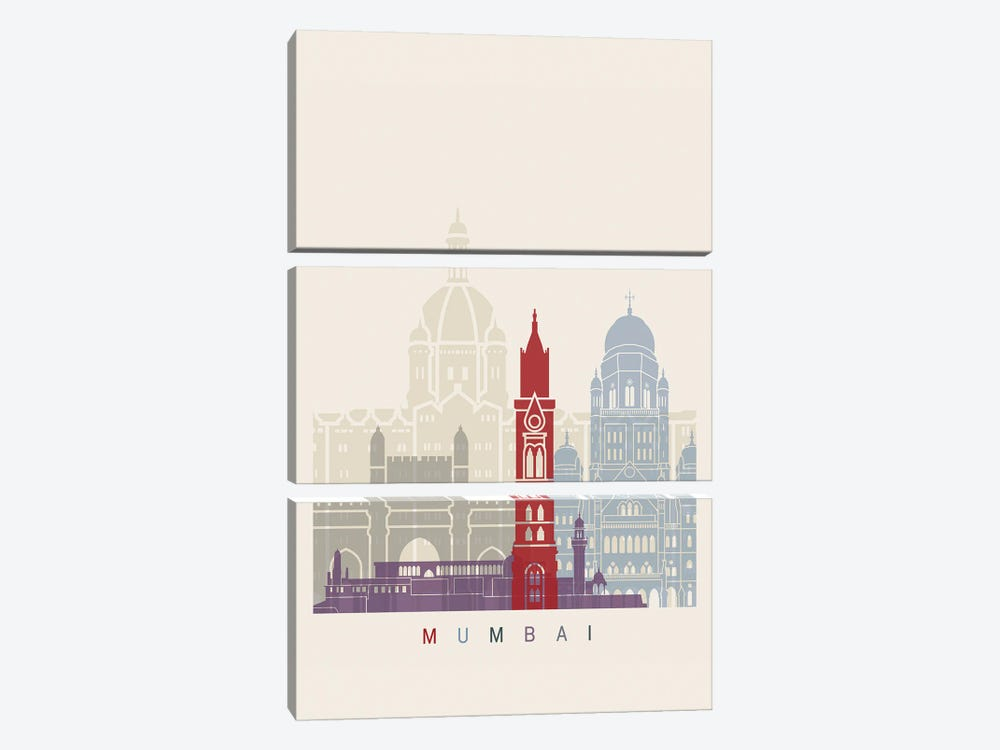 Mumbai Skyline Poster by Paul Rommer 3-piece Canvas Art