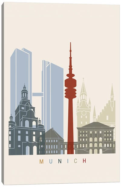 Munich Skyline Poster Canvas Art Print
