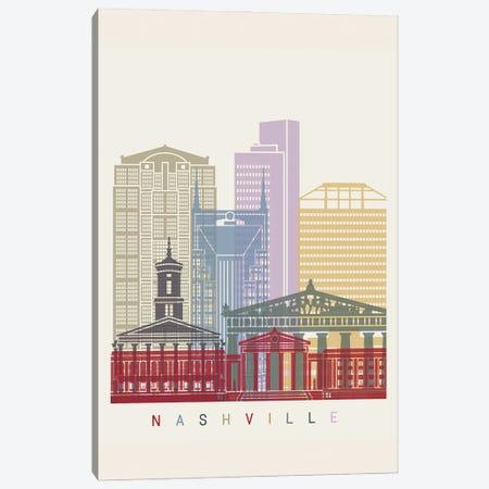 Nashville Skyline Poster Canvas Print #PUR1075} by Paul Rommer Canvas Artwork