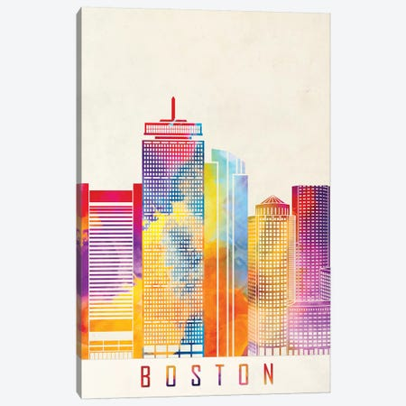 Boston Landmarks Watercolor Poster Canvas Print #PUR107} by Paul Rommer Canvas Artwork